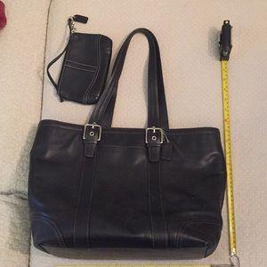 Black leather Coach purse/tote in great condition